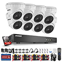 ANNKE HD 3MP Video Security Camera System with 2TB HDD 16-Channel 5-in-1 HD-TVI/CVI/AHD/IP/CVBS DVR Recorder and (8) IP66 Weatherproof Metal Indoor&Outdoor Cameras, Super Night Vision