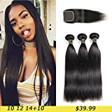 Best Hair Bundles With Free Parts - Aodai Brazilian Virgin Hair Straight with Closure 4x4 Review