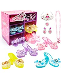 Girls Princess Dress up Shoes Set Hodola Girls Play Shoes and Jewelry Boutique Role Play Collection Shoes Set Gift Set with Princess Tiara and Accessories Jewelries for 3, 4,5 Years Old Girls and up