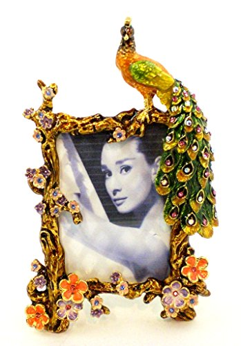 Ciel Collectables Peacock Picture Frame, Colorful Swarovski Crystal, Hand Painted Colorful Enamel Over Pewter, Stylish Enamel on Metal Back, Holds 2 x 3 Pictures