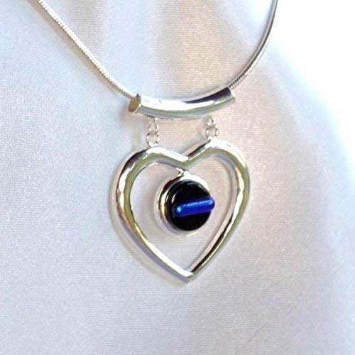 THIN BLUE LINE Police Ladies Glass Jewelry Pendant Necklace Silver Love Heart Dangle Dichroic Fused (Fused Jewelry Dichroic Glass)