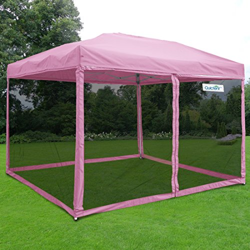 3 Wall Screen - Quictent 8x8 Ez Pop up Canopy with Netting Screen House Tent Mesh Side Wall-3 Colors 4 Sizes (Pink, 8 Feet x 8 Feet)