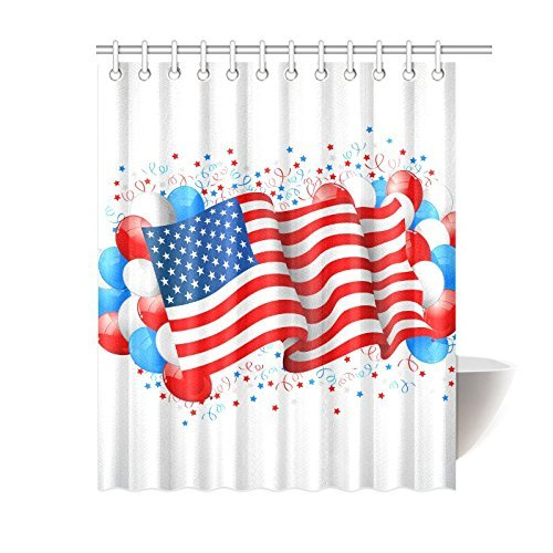 InterestPrint American Flag Independence Day 4th of July Waterproof Polyester Fabric 60(w) x 72(h) Shower Curtain and Hooks
