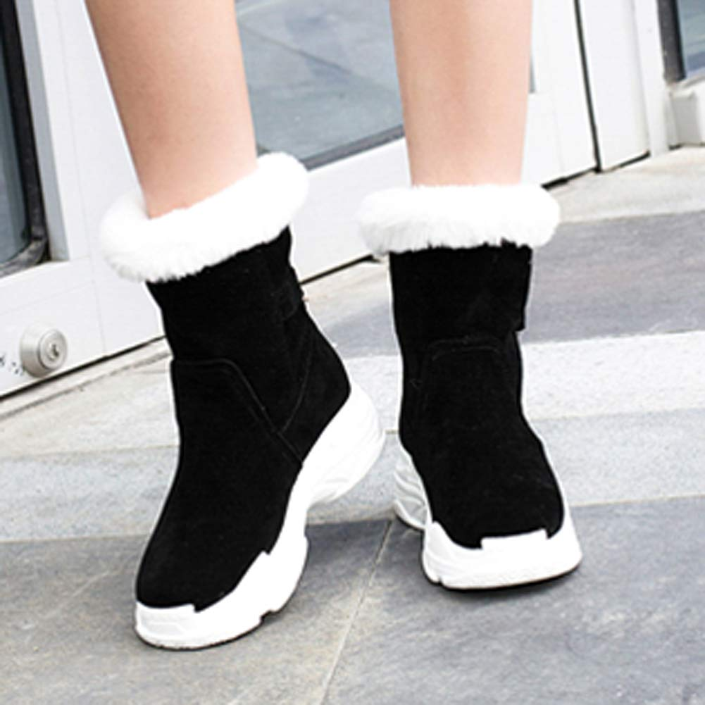 LFEU Damen Ankle Ankle Ankle Stiefelie Kunstpelz Schnalle Winter warme Plüsch Schuhe Dicke Unterseite Oudoor Rutschfeste Damen Schnee Stiefel cf4ad7