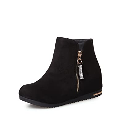 Women's Zipper Low-Heels Imitated Suede Solid Low-Top Boots