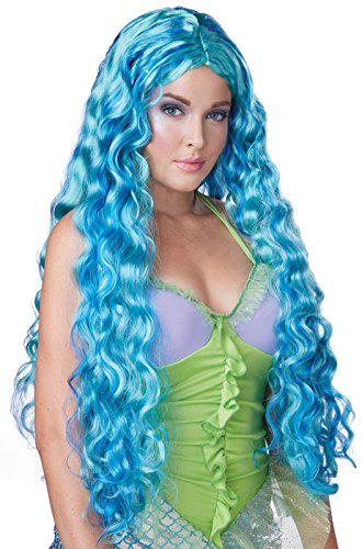 [California Costumes Women's Sea Siren Wig Mermaid Goddess, Aqua/Blue, One Size] (Sea Goddess Costume)