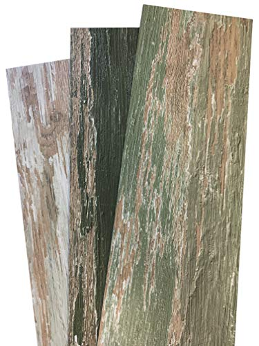 COLORS Vintage Painted Aged Old Green Tree Wood Restored Style Dry Back Glue Down Textured Luxury Vinyl Floor and Wall Plank 6 in. x 36 in. (45 sq. ft./case) ()
