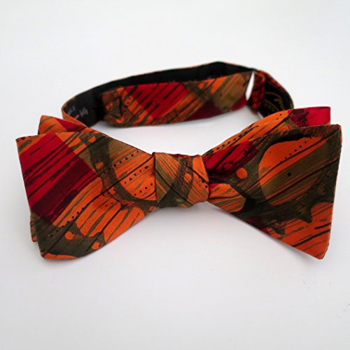 100% Silk Hand-Painted Hand-Made Men's Self Tie Bow Tie ''High Gear'' Art to Wear by Murphyties by Murphyties Inc.