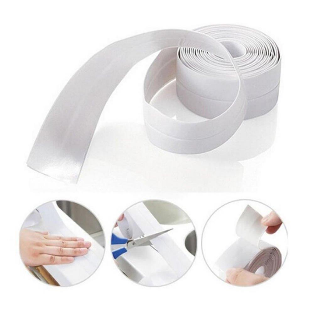 TXIN 2 Pack Waterproof Wall Caulk Strip Kitchen Sink Tile Crack Repair Mildew Tape 1-1/2 '' for Bath Tub Kitchen, Shower Toilet Wall Sealant (White)