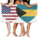 Unisex BAHAMAS USA Flag Twin Heart Over-Sized Cotton Bath Beach Travel Towels 31x51 Inch