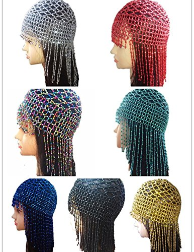 2018 New Handmade Beaded Hats Pub/DJ Hair Accessory Egyptian Cleopatra Belly Dance Beaded Caps Wig Headpieces(7 -
