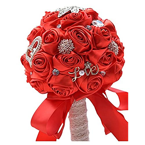 Belle House Hand Made Rose Satin Bridal Wedding Bouquet For Bridesmaid Holding Flowers Red White