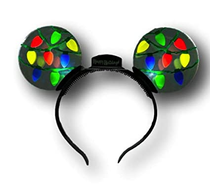 disney parks minnie mouse ears headband christmas lights light up