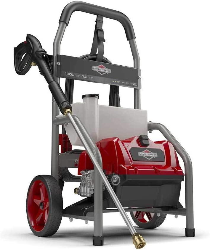 Briggs Stratton 20680 Electric Pressure Washer 1800 PSI 1.2 GPM with 20-Foot High Pressure Hose, Turbo Nozzle Detergent Tank
