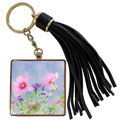 3dRose Stamp City - flowers - Photograph of wildflowers turned into a drawing in Photoshop. - Tassel Key Chain (tkc_301357_1)