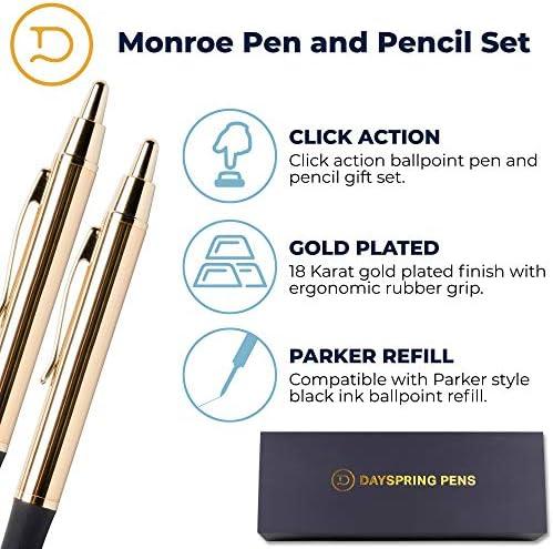 Monroe Pen and Pencil Set 18 Karat Gold Plated Gift Set. Dayspring Pens