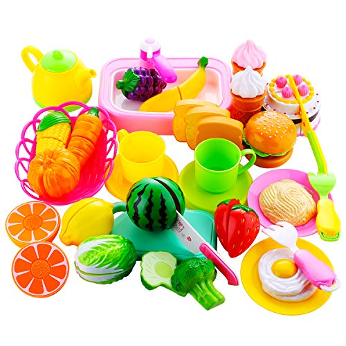 Biulotter 57 Pcs Play Food Set, Durable Pretend Food Playset Kitchen Cooking Set Plastic Foods Vegetable Toy Set for Kids Toddlers Play Kitchen Playset Accessories Gift Toy for Educational Learning
