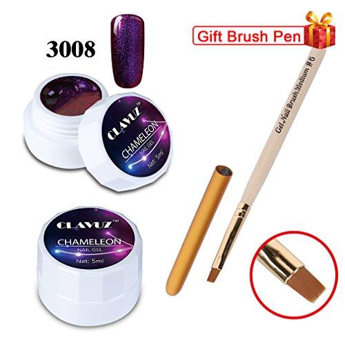 CLAVUZ Soak Off Chameleon Color Changing Gel Polish UV LED Nail Polish+Nail Art Brush Nail Art Manicure Pedicure Tool Kit 5ml