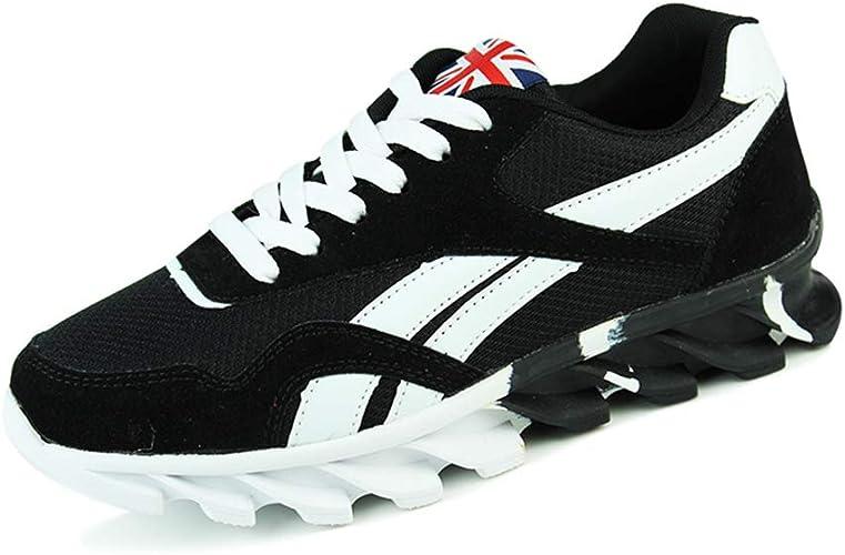 MENS BLACK WHITE SPORTS FLAT LACE-UK TRAINERS RUNNING WALKING GYM SHOES UK 5-12