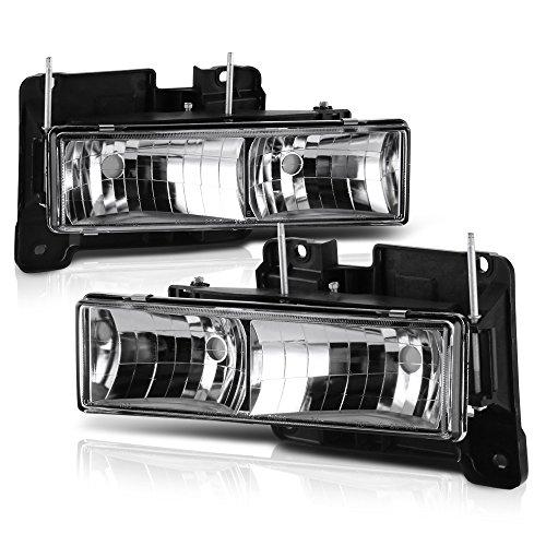 (VIPMOTOZ Glass Lens Headlight Headlamp Assembly For 1988-1999 Chevy & GMC C/K Suburban Blazer 1500 2500 3500 - Metallic Chrome Housing, Driver and Passenger Side )