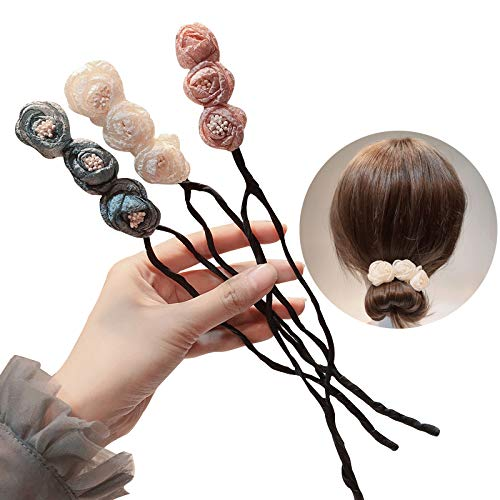 One Step Donut Hair Bun Maker, Women Magic Hair Bun Shapers Styling Twist Headband with Translucent Veil Flower for Girl Hairstyle DIY Tool (3 Colors)