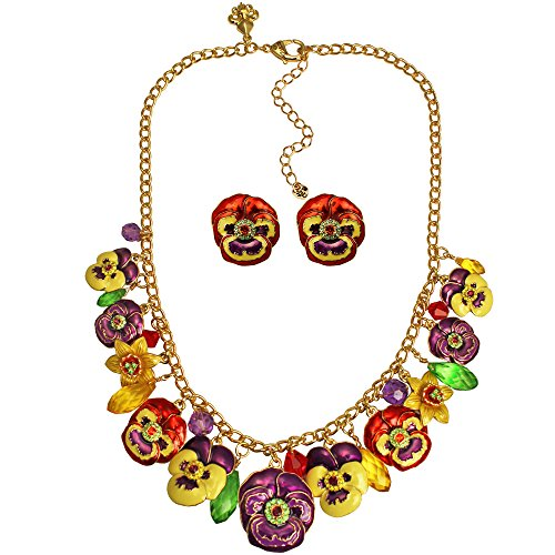 Ritzy Couture Women's Enamel Pansy Flower Daffodil Garden Drop and Dangle Party Charm Necklace (Goldtone)