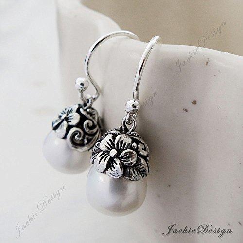 White Pearl Drop Flower Bali Sterling Silver Earrings JD119