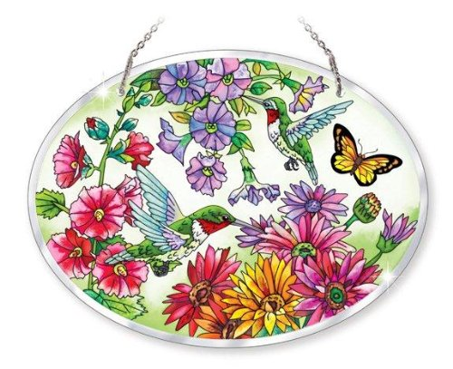 (Amia Beveled Glass Large Oval Suncatcher Hand-Painted Hummingbird Design, 9 by 6-1/2-Inch)