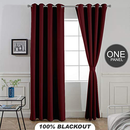 Divine Casa Blackout Curtains Panel for Door Room Darkeing - Thermal Insulated Rod Pocket Blackout Drapes/Panels/Draperies for Living Room Blackout Curtain 1 Panel (W47 x L84 - inch, Dark - Valance Divine