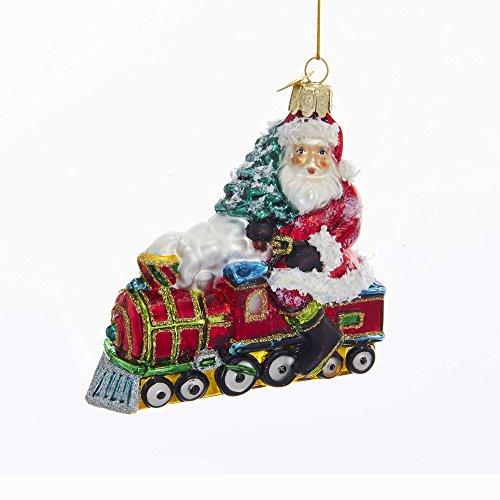 Kurt S. Adler 4-Inch Noble Gems Glass Santa on Train Ornament