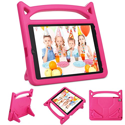 Gogoing iPad 9.7 2018 2017 / iPad Air 2 / iPad Air Kids Case - Light Weight Shockproof Cover Case with Carrying Handle Stand for New Apple iPad 9.7, iPad air 2/1, iPad 6th / 5th Gen(Pink)