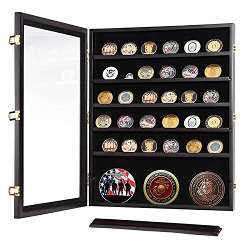 Military Shadow Box Pins Badge Coin Display Cabinet Rack Wood Coin Shadow Boxes