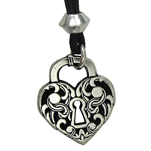 Pewter Heart Lock - Pewter Heart Lock Victorian Love Pendant Necklace