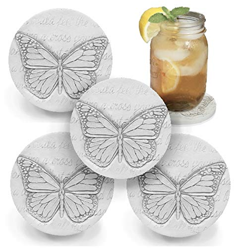Drink Coasters by McCarter Coasters, Butterfly, Absorbent, Light Beige 4.25 inch (4pc)