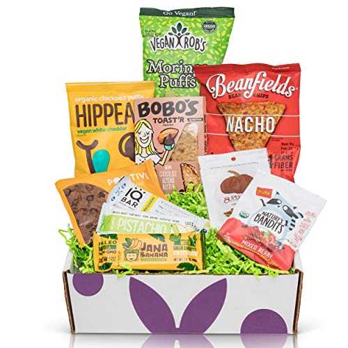Vegan Gluten Free Sampler Box- Mix of Chips, Protein Bars, Cookies, Fruit Snacks Care Package Gift Box (10 - Non Gifts Food