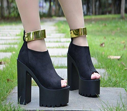 El de fondo botas super XiaoGao de cortas tacon hueco 14 grueso Black tacón centímetros zdwnxqaF