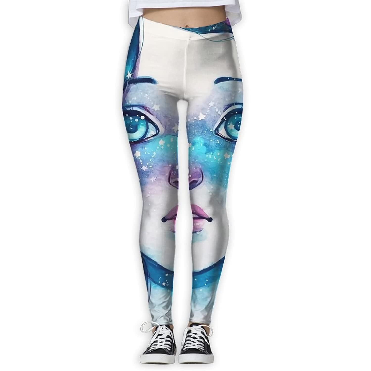 Doppyee Surprised Girl Printing Compression Leggings Pants Tights For Women S-XL