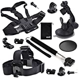 EEEKit 4in1 Starter Kit for For Gopro Gopro Style 1 4 inch Screw Action Cameres - Head Strap Chest Body Harness Car Dashboard Mount - Selfie Stick Pole