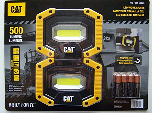 CAT LED Work Lights 500 Lumens, Rugged, Magnetic, Rotating Handle - 2 Pack (Cat Downward)