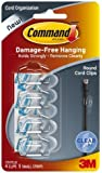 Command Plastic Round Cord Clip, No Drilling, Holds Strong, No Wall Damage (Transparent, 9 Pieces)