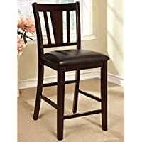 Modern Furniture of America Bension Espresso Counter Height Chairs (Set of 2) Kitchen Furniture Brown