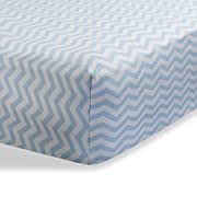 Fitted Knit Crib Sheet - Best Crib Sheet for Baby - Infant | Toddler 100% Cotton Jersey Knit Deep Fitted Bed Sheet (28  X 52  (STANDARD CRIB), Zigzag Blue)