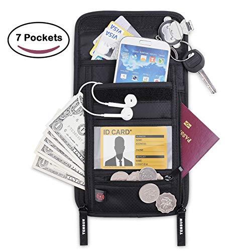 Tensun Neck Pouch Wallet, Passport Holder Stash w/RFID Blocking Security Travel Document Pouch