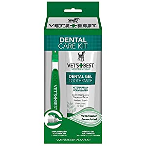 Provide the best dental care for your dog with Vet's Best Complete Enzymatic Dental Care Gel & Toothbrush Kit. Our veterinarian-formulated toothpaste contains enzymes and natural ingredients (including neem oil, grapefruit seed extract, baking so...