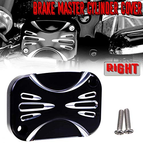 - Kavas - Front Left & Right Motorcycle Brake Master Cylinder Cover For Harley Touring Street Glide 2008- CNC Billet Aluminum Cap