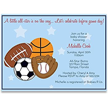 Amazon sports baby shower invitations chalkboard boys sports baby shower invitations boy blue football soccer baseball basketball all star mvp little champ personalized customized set of 10 printed filmwisefo