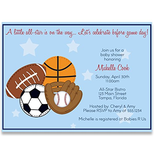 Sports Baby Shower Invitations, Boy, Blue, Football, Soccer, Baseball, Basketball, All Star, MVP, Little Champ, Personalized, Customized, Set of 10 Printed Invites and Envelopes, -