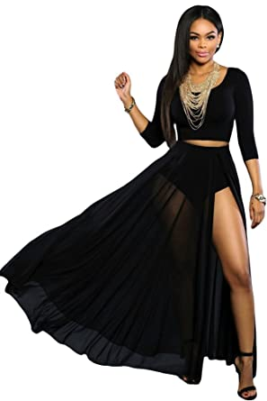 7343a98647 Image Unavailable. Image not available for. Colour: shelovesclothing New  Women's Stunning Sexy Front Slit Full Black Maxi Skirt ...