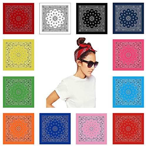 Paisley Bandanas Assorted Colors, 12 Pack Men and Women 100% Cotton Cowboy Bandana Scarf Funny Party Hats 12 Colors (Mens Square Printed Bandana)