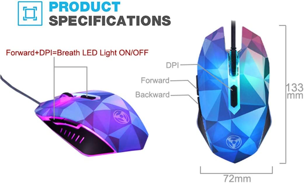2400DPI Gaming Mouse,Colorful Backlit Wired USB Laptop Mouse,4 DPI Levels 1000DPI 3200DPI,for Laptops and Office 1600DPI